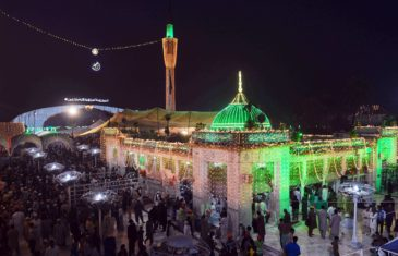 Pakistani Sufi followers gather at the Data Darbar complex which contains the shrine of Saint Syed Ali bin Osman Al-Hajvery, popularly known as Data Ganj Bakhsh, during the three-day annual 'Urs' religious festival in Lahore on November 19, 2016.   Data Ganj Bakhsh was a Persian Sufi and scholar during the 11th century. He was born in Ghazni, Afghanistan (990 AD) during the Ghaznavid Empire and settled and died in Lahore spreading Islam in South Asia. During the festival the shrine is lit with candles and lights, donated food is prepared for the people and Sufies dance around and musicians play music for hours. / AFP PHOTO / ARIF ALI